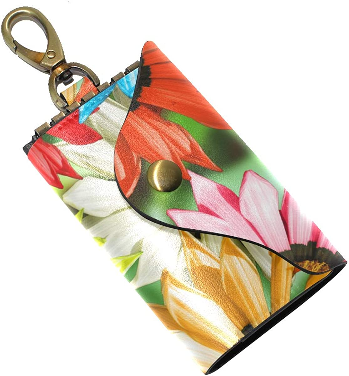KEAKIA Gerbera Print Leather Key Case Wallets Tri-fold Key Holder Keychains with 6 Hooks 2 Slot Snap Closure for Men Women