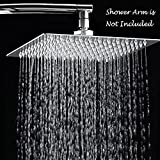 Rain Shower Head / 10 Inch Stainless Steel Solid Square Rainfall Showerhead With Ultra Thin,Elegantly Designed, High Pressure,Polish Chrome