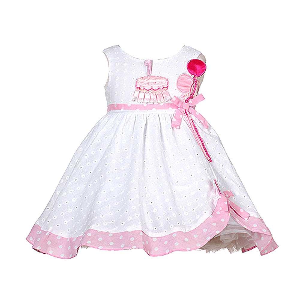 Amazon.com: Baby Girls White Pink Balloon 1st Birthday Dress 24M ...