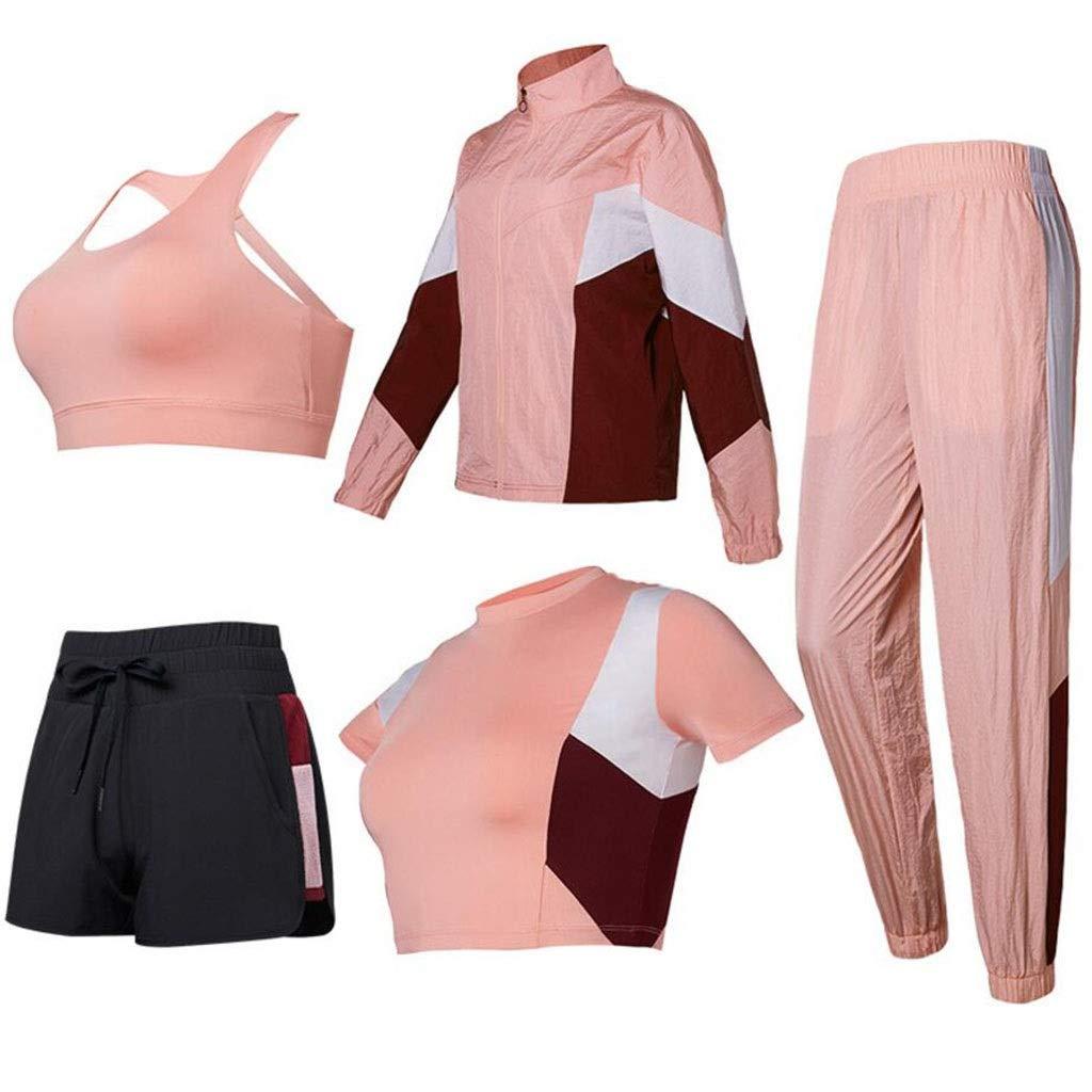 HFWJHH Frühling und Sommer Yoga-Kleidung Sportanzug, Damenhosen Laufbekleidung, schlanke und schnell trocknende Kleidung Kurzarm-BH Fitness-Kleidung 5 Sätze