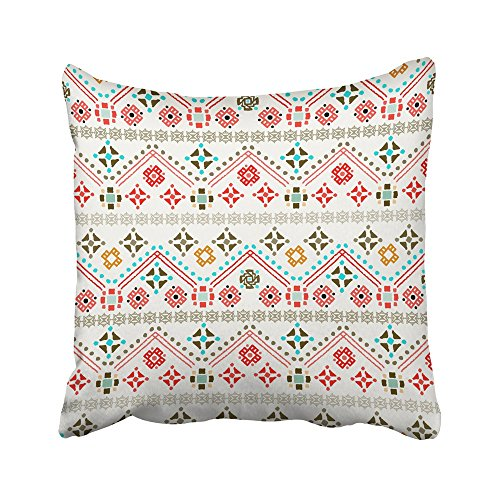 Emvency Decorative Throw Pillow Covers Cases Bohemian Ethnic Boho Tribal Colorful Design Folk Chic Turkish Russian Mexican Russia Ethno 16x16 inches Pillowcases Case Cover Cushion Two Sided