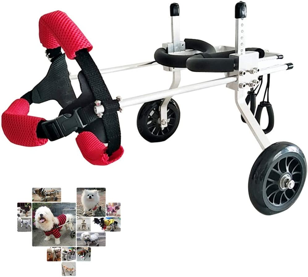 AMITD - Silla de ruedas para perros, de aleación de aluminio, 2 ruedas, para rehabilitación de mascotas, 1-20 kg