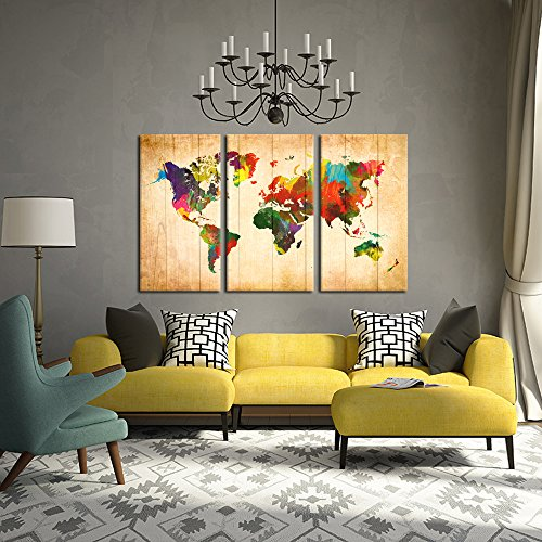 Kreative arts 3 pieces canvas prints wall art travel world map producto no disponible gumiabroncs Choice Image