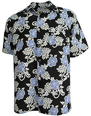 Mens Hawaiian Silk Camp Shirt Black Blue Hibiscus Casual