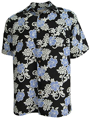 Mens Silk Camp Shirt Hawaiian Cool Beach Black Blue Hibiscus Casual (Large) (Vintage Men Shirts)