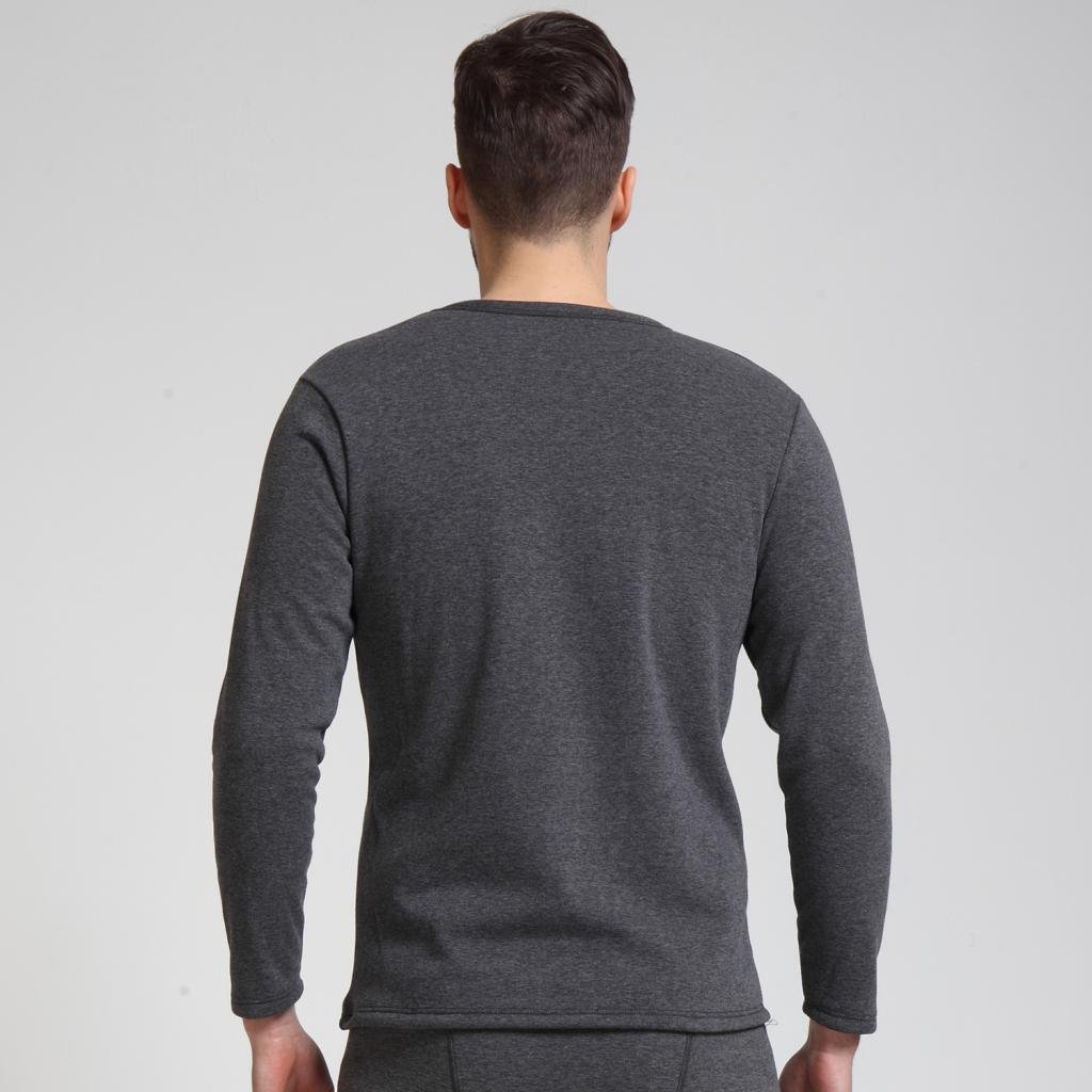 Liang Rou Mens Crew Neck Thick Fleece Lined Thermal Shirt
