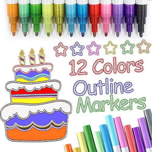 Jonurphy Penne per contorni a doppia linea,Penne di Contorno,12 Colori Impermeabili con Glitter a Due Linee,Ideale per Dipingere Biglietti di Natale Auguri di Compleanno Artigianato artistico