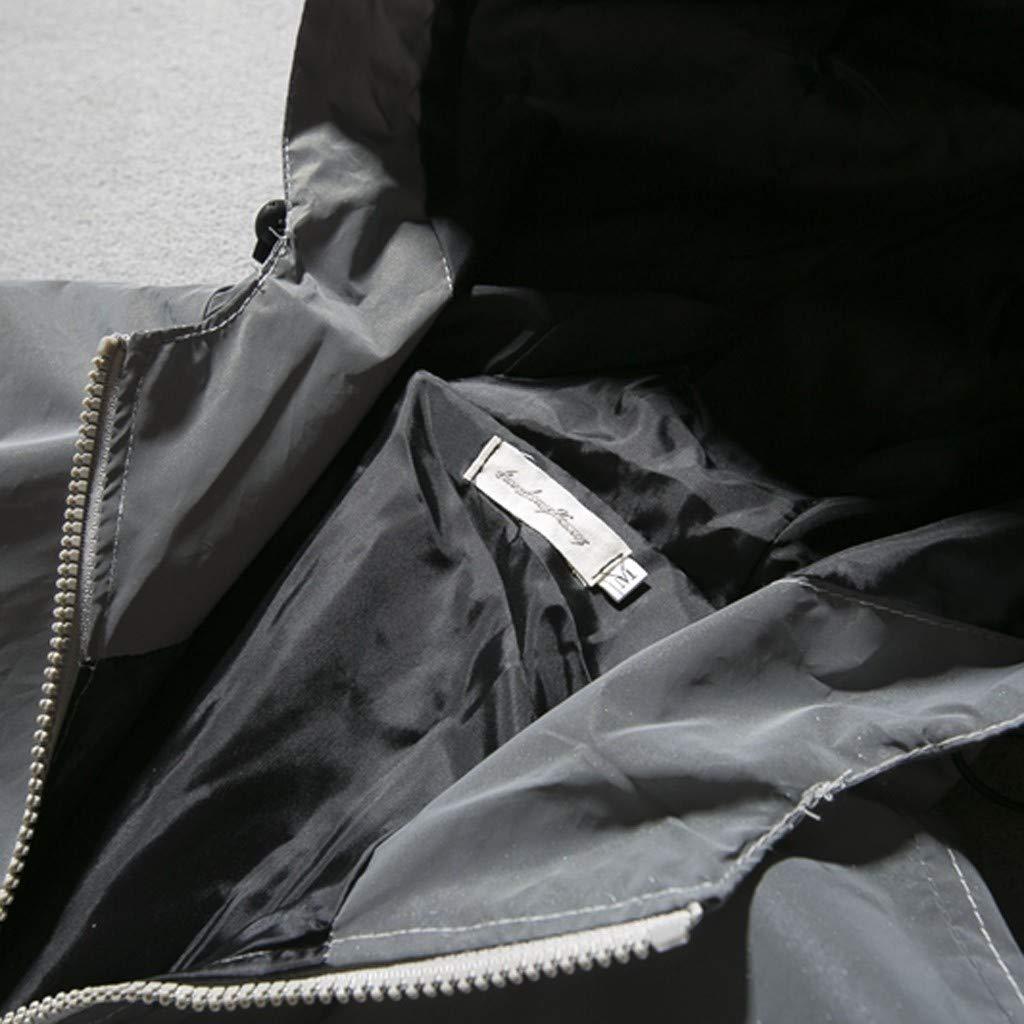 KEERADS Veste Réfléchissante pour Homme/Femme Manteau Coupe-Vent à Capuche Harajuku Action de Grâces Gris
