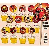 Party Over Here The Incredibles Cupcake Picks Cake Toppers -12 pcs Disney Movie, Elastigirl, Violet, Dash JackJack