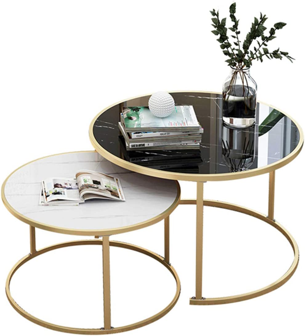 Cfjjoat Easy To Assemble Set Table With 2 Coffee Tables For Balcony In Living Room And Side Table In Office Marble And Coffee Table Amazon De Kuche Haushalt