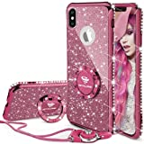 iPhone X Case, iPhone 10 Case, Glitter Cute Phone Case Girls with Kickstand, Bling Diamond Rhinestone Bumper Ring Stand Thin Soft Protective Sparkly Apple iPhone X Case for Girl Women - Deep Purple