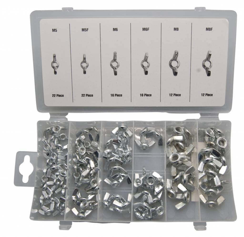 Assorted M5, M6, M8 Wing Nuts - Steel (100 Pieces) Benson Tools 6773