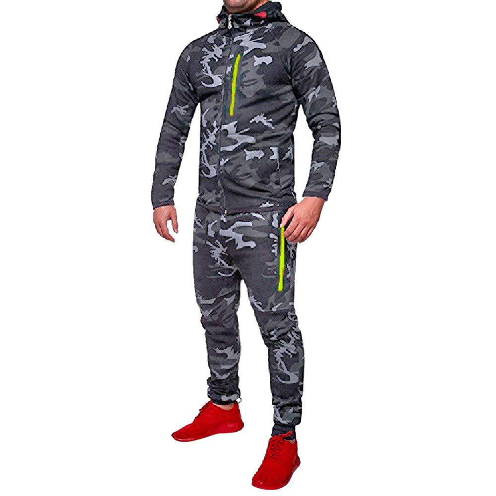 Clearance!GREFER Men's Autumn Tracksuit Winter Camouflage Sweatshirt Top Pants Sets Sports Suit by GREFER