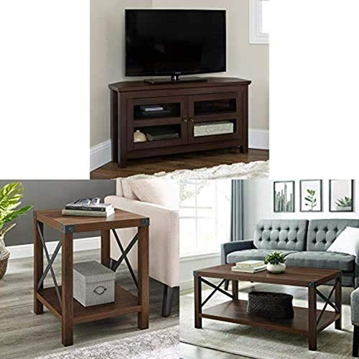 "Walker Edison Furniture Farmhouse Wood Corner Universal Stand for TV, 44 Inch with Round Metal and Accent Small End Table, 18"" and Rectangle Accent Coffee Table Ottoman Storage Shelf, 40"" Dark Walnut"