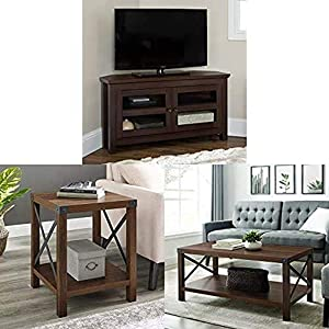 """Walker Edison Furniture Farmhouse Wood Corner Universal Stand for TV, 44 Inch with Round Metal and Accent Small End Table, 18"""" and Rectangle Accent Coffee Table Ottoman Storage Shelf, 40"""" Dark Walnut"""