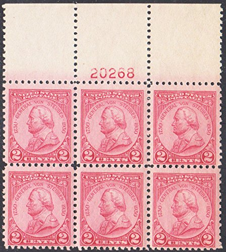 United States Scott 689 2c Von Steuben Plate 20268 Block of Six. Mint never ()