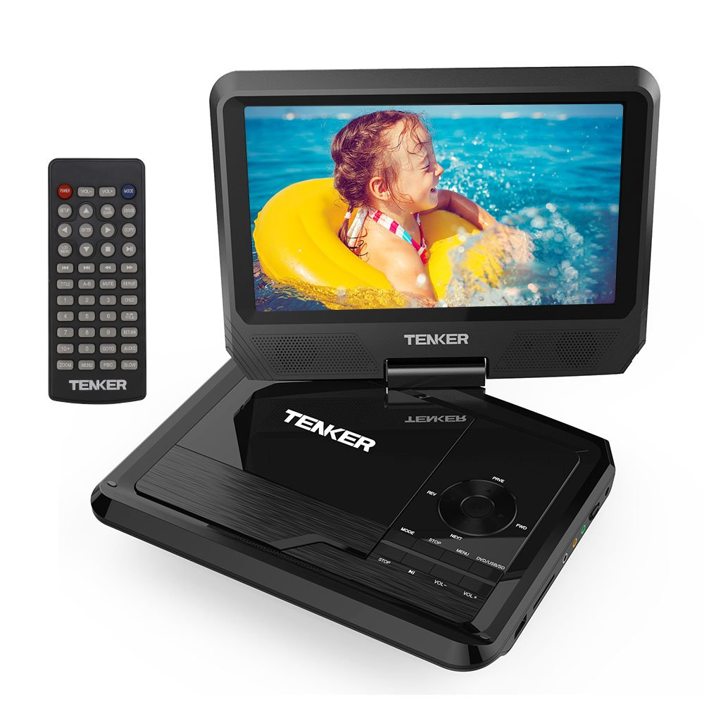 TENKER 9.5'' Portable DVD Player with Swivel Screen, Rechargeable Battery and SD Card Slot & USB Port, Black