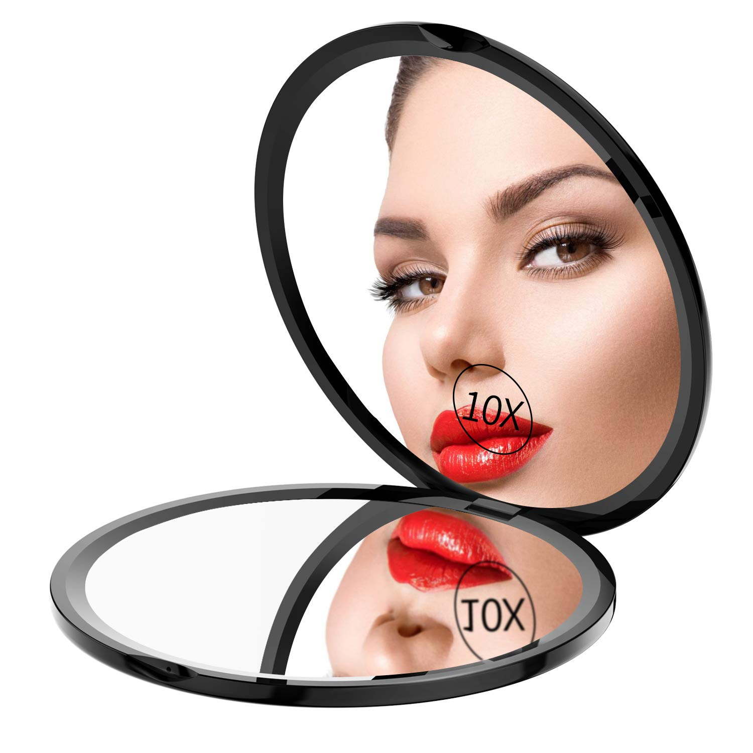 Gospire Pocket Makeup Mirror for Travel, 1X 10X Double Sided Magnifying Compact Handbag Cosmetic Mirror, 4 Inch Ultra-thin Handheld Round Foldable Portable Mirror for Women Black