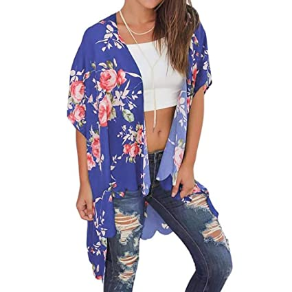 75ba19129 Amazon.com: Women Chiffon Loose Shawl Floral Print Kimono Cardigan Top  Casual Beach Cover up Sunscreen Tops: Musical Instruments