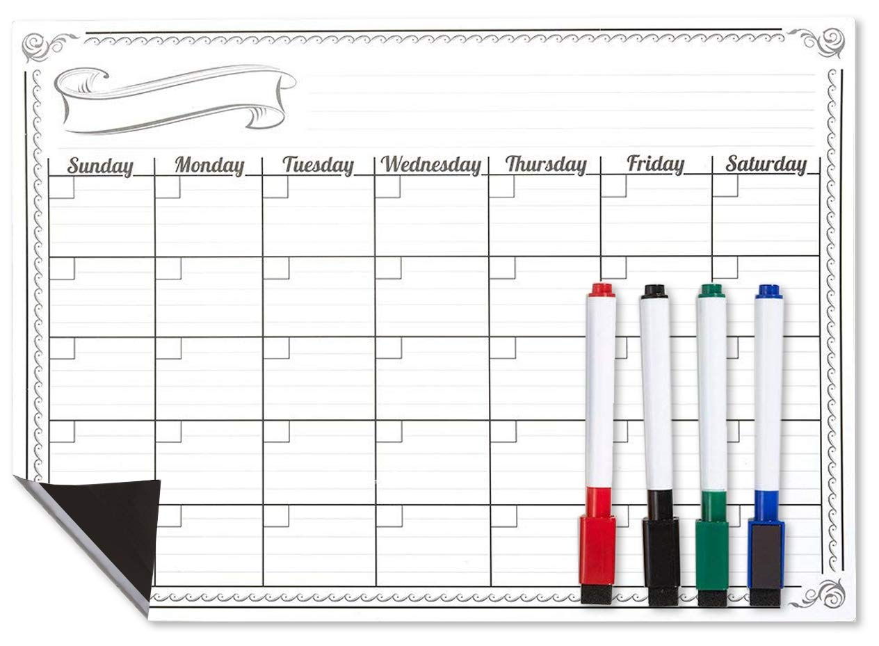 Magnetic Dry Erase Calendar, Monthly Calendar Whiteboard for Fridge, Kitchen Dry Erase Calendar with Magnets, Includes 4 Dry Erase Markers, 16 x 12 Inches Juvale