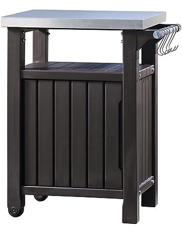Keter Mesa auxiliar para barbacoa con 1 puerta, grafito, 54 x 70 x 90