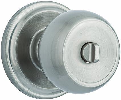 Brinks Push Pull Rotate Door Locks Stafford Privacy Bed/Bath Knob, Satin  Nickel,