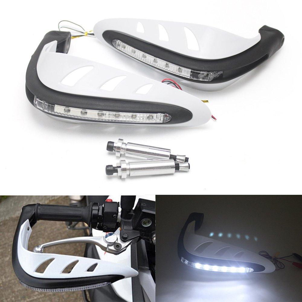 KKmoon Universel Moto Motocross Handguards Main Gardes un Ensemble Combinaison Guidon Protector avec LED Tour Signaux Lumineux