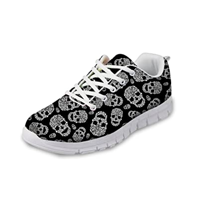FOR U DESIGNS Cool Skull Print Women's Breathable Light Weight Lace Up Fashion Sneakers Comfortable Running Shoes | Fashion Sneakers
