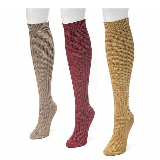 c5a2eab92a0 MUK LUKS Women s 3-Pack Waffle Knee High Socks Multi at Amazon Women s  Clothing store