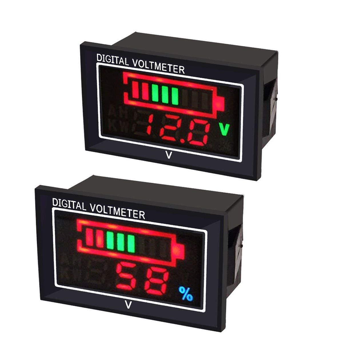 Innovateking-EU 2ST Digital Voltmeter/Amperemeter LED Anzeige Sä ure Batteriekapazitä t Anzeige Multimeter, DC6-80V Wasserdichte Spannung entladene Monitor Tester,0,56 Zoll Reverse Polarity Protection