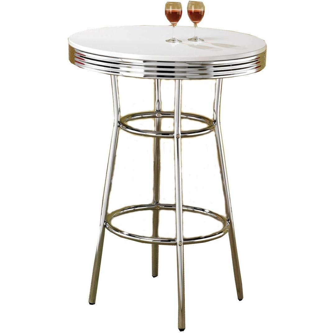 Cleveland 50's Soda Fountain Bar Table Chrome and White by Coaster Home Furnishings