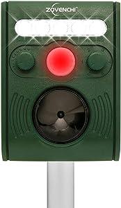 ZOVENCHI Ultrasonic Animal Repeller, Solar Powered Repeller with Motion Sensor Ultrasonic and Red Flashing Lights Outdoor Waterproof Farm Garden Yard, Repel Cats, Dogs, Foxes, Birds, Skunk, Rod