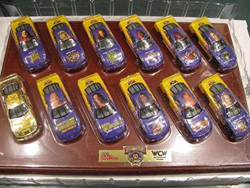 1998 World Championship Wrestling WCW 12 Car 1/64 Scale Diecast Set - 50th Anniversary Racing Champions Set - Certificate Of Authenticity Only 2500 Sets Made Includes Hart, Goldberg, Luger, Savage, (Giant Scale Racing)