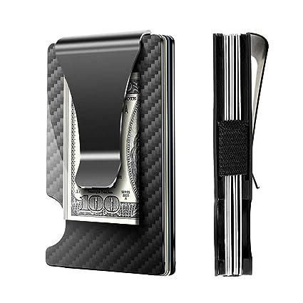 Cartera de Fibra de Carbono, Aluminio Titular de Tarjeta de Fibra de Carbono y Clip para Dinero RFID Bloqueo Protección (Negro)