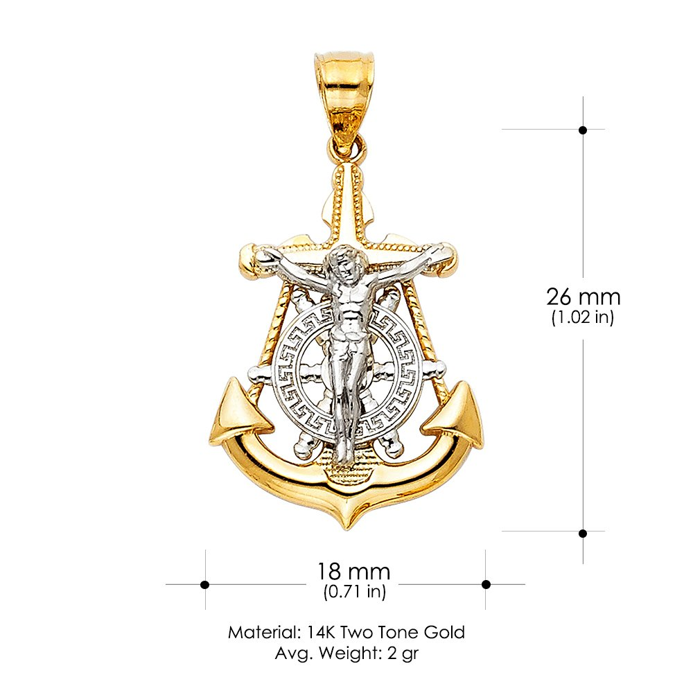 14K Two Tone Gold Jesus Crucifix Anchor Pendant with 1.5mm Flat Open Wheat Chain Chain Necklace