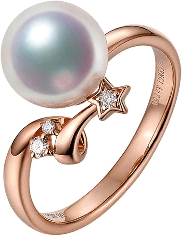 Daesar Anillo de Mujer Plata/Oro/Oro Rosa Anillo Oro Blanco 18K Estrella con Perla Blanca Diamante 0.13ct