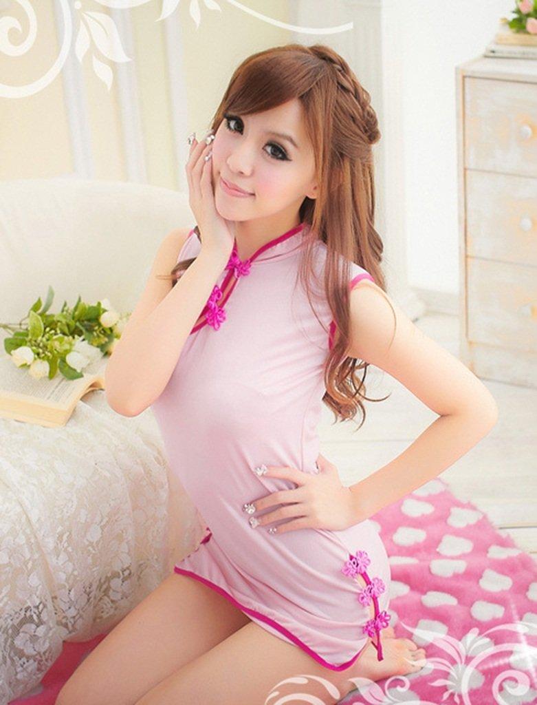 Ailin diversión home Ropa Interior de diversión Ailin Rosa satén Cheongsam Halter Juego Uniformes (Color : rosado, Tamaño : One Size) 860a9e