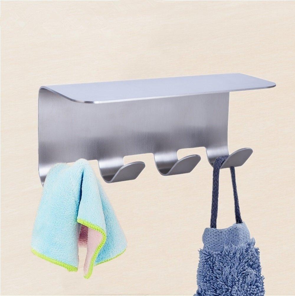 Goodia Adhesive Wall Mounted Waterproof Bathroom Kitchen Toilet Shelf Furniture Sets with 4 Hooks,Aluminum Shower Caddy Shampoo Shower Gel Holder