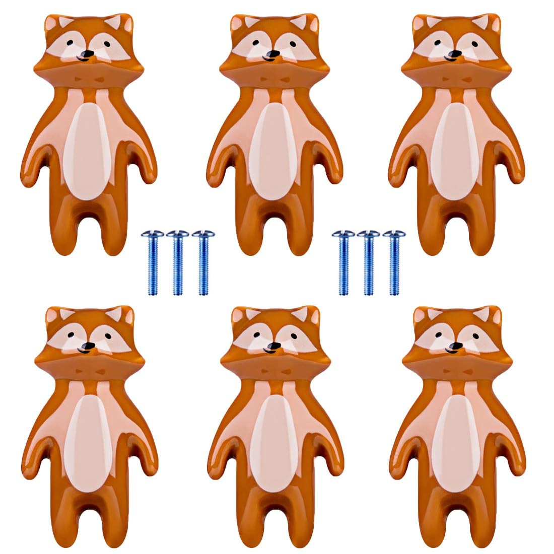 Nursery Dresser Knobs 2019 New Arrival 6pcs/Lot Children Cartoon Door Knob Ceramic Fox Animal Shape Handle Furniture Handle Cabinet Pull Handle Knobs by AloPW