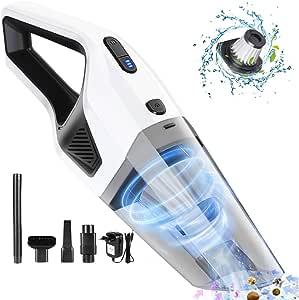 Duomishu Aspirador de Coche 3 en 1 Portatil, 120W/7000PA Potente Aspirador de Mano Inalámbrico en Seco y Humedo, 3 * 2200mAh Batería y Bajo Ruido con Filtro HEPA para el Hogar/Automóvil (Blanco):