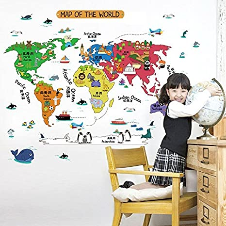 Buy uberlyfe colourful world map wall sticker size 4 wall uberlyfe colourful world map wall sticker size 4 wall covering area 60cm x 92cm gumiabroncs Gallery