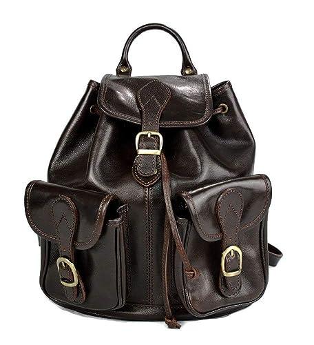 Mochila de piel marron oscuro mochila piel mochila hombre mujer mochila de viaje mochila de cuero