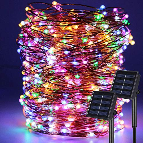 2 Pack Multi Color Total 200 LED Copper Micro Solar Wire Lights Waterproof Starry String Lights for Home Garden Decoration Xmas Wedding Festival Party Valentines Day