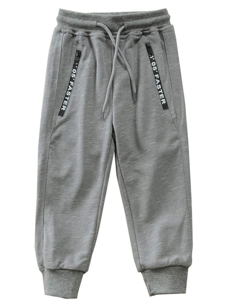 Mallimoda Boy's Knit Cotton Sweatpants Casual Sport Drawstring Waist Trousers Style 1 Grey 11-12 Years