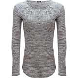 Monrow Women's Spec Thermal Long Sleeve Henley, Black/Natural, Large