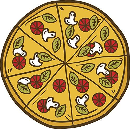 (Divine Designs Pepperoni Mushroom Spinach Pizza Cartoon Vinyl Decal Sticker (8