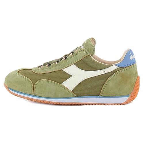 Sneaker Diadora Heritage Equipe Stone Wash 12 colore verde bianco e azzurro per