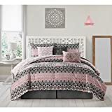 7 Piece Girls Pink Black White Damask Theme Comforter King Set, Beautiful All Over Medallion Flower Bedding, Multi Geometric Floral Scroll Motif Horizontal Stripe Themed Pattern, Light Rose Salmon