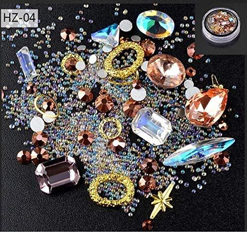 - Kamas 1 Box New Nail Art Decoration Diamond Shaped Jewelry Bottom Transparent AB Rhinestone Crystal Glass Beads Mixed Elven In Rivet - (Color: HZ-04)