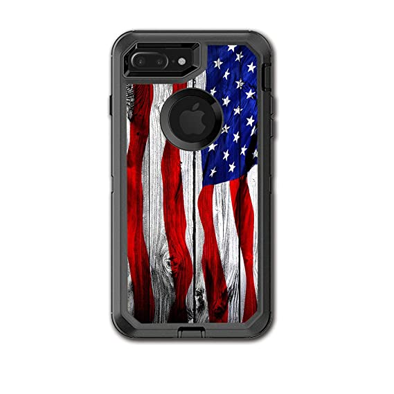 the latest ae57b f1b2d Skin Decal Vinyl Wrap for Otterbox Defender iPhone 7 PLUS Case / American  Flag on Wood